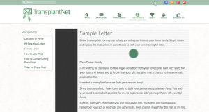 A peak at our new transplant recipient sample letter. There is also one for donor families.